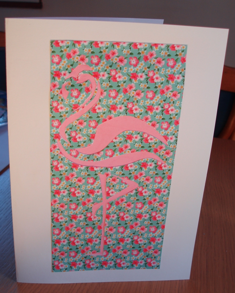 carte anniversaire flamant rose lusicreations